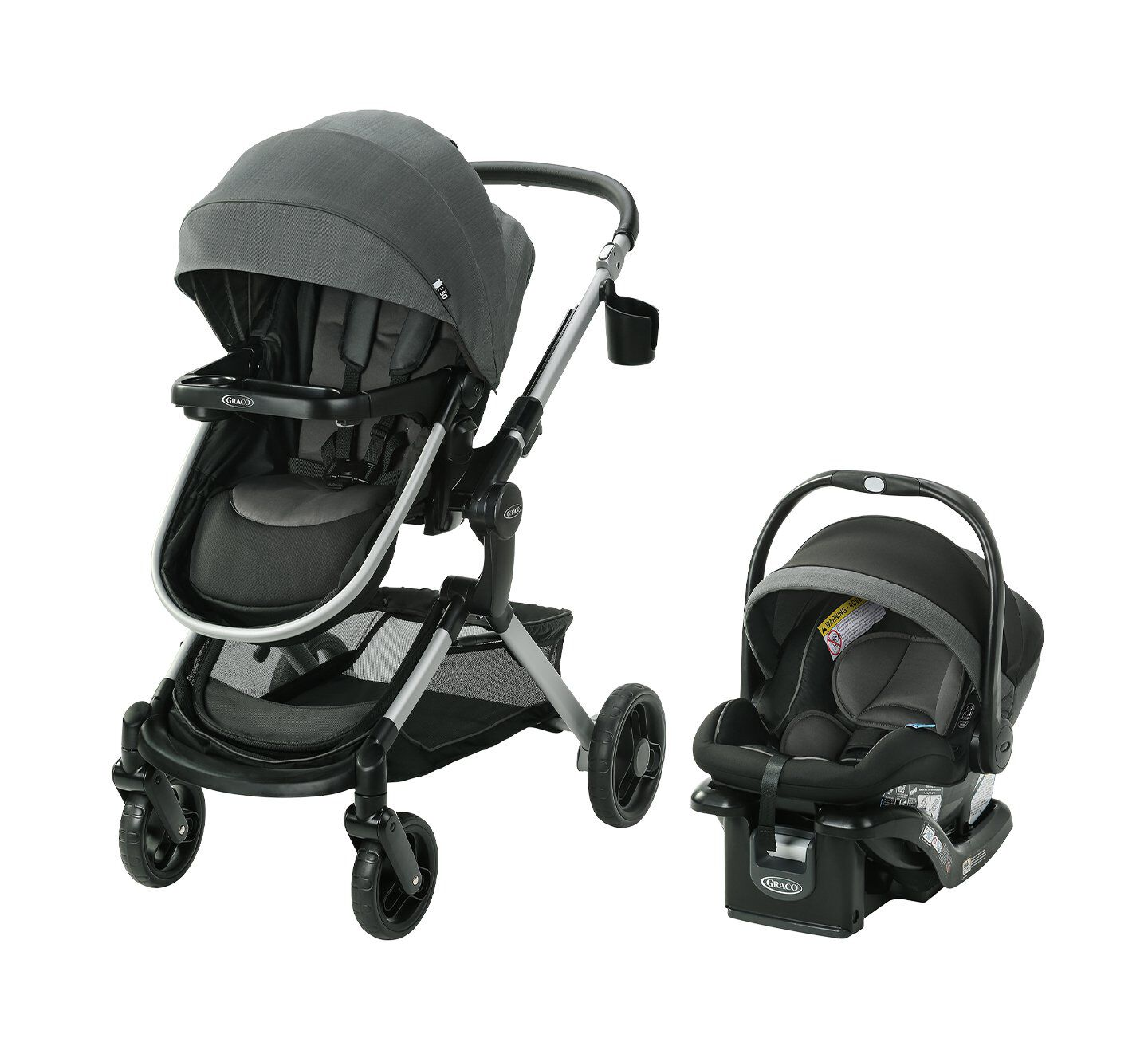 banner with black stroller and baby carrier